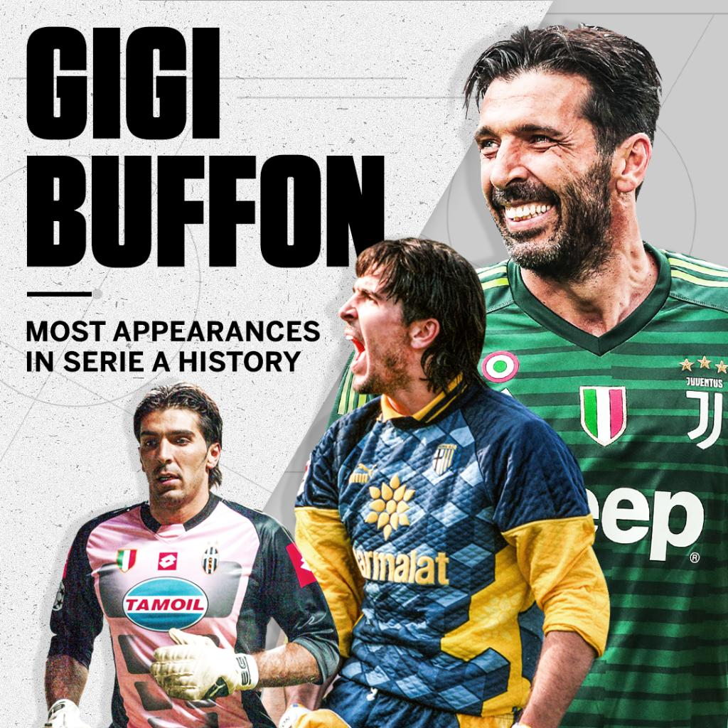 Serie A legend.   Gianluigi Buffon breaks a tie with Paolo Maldini for most appearances in Serie A history with his 648th game 👏 https://t.co/Tljpcoa8aJ