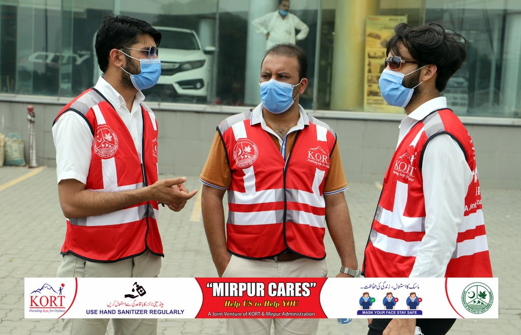 """""""Mirpur Cares"""", Help US to Help YOU KORT has started a COVID-19 massive awareness campaign """"MIRPUR Cares"""". Stay connected for more updates and your way of participation! """"Because We Care"""" #mirpurcares #joint #venture #administration"""