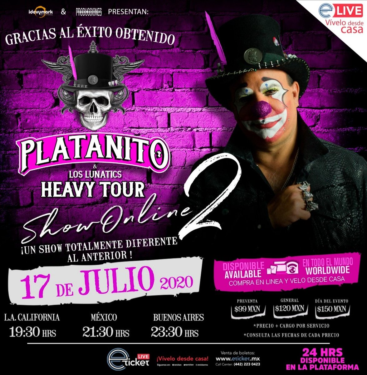 """Aaay Weey! queridos amigos, debido al gran éxito que tuvimos el show pasado, PLATANITO HEAVY TOUR online 2 regresa este 17 de Julio con un """"SHOW TOTALMENTE NUEVO"""" al anterior, accesos ya a la venta en 👇: . https://t.co/vJVq0WjoV2 . @eticket  #PlatanitoHeavyTour2 #PlatanitoShow https://t.co/Aan7miJa0d"""