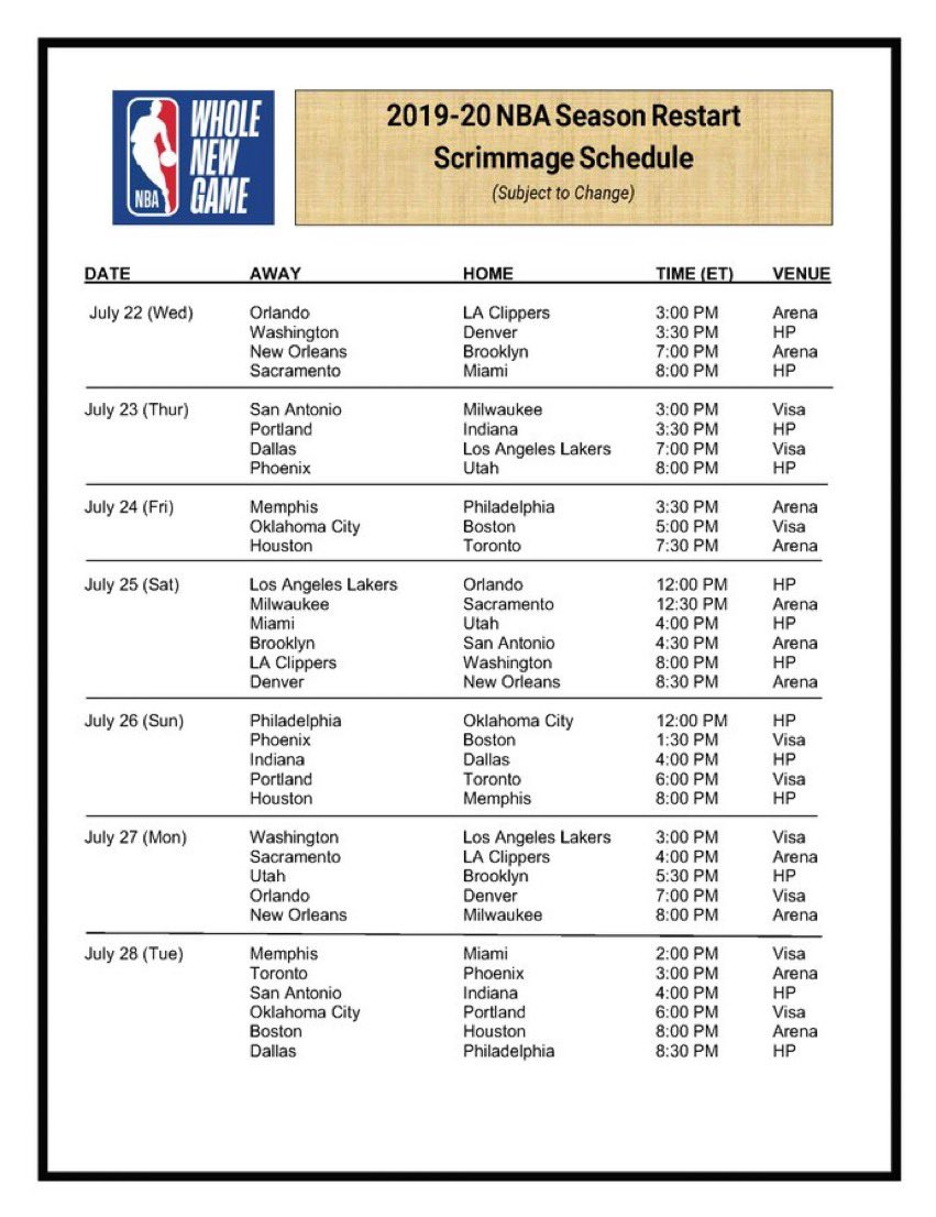 The NBA's scrimmage game schedule — with Clippers, Nuggets, Heat and Pelicans all opening play on July 22: https://t.co/znph78RAWW