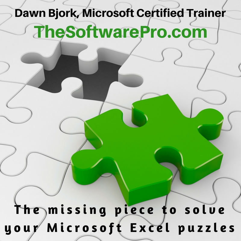 Puzzled by the many pieces to Microsoft Excel? Curious about new and hidden features? Let's create a customized training plan for your team  https://www.TheSoftwarePro.com/Excel (303) 699-6868 or Dawn@TheSoftwarePro.com #CertifiedExcelExpert #ExcelTipspic.twitter.com/MdyoDDY2do
