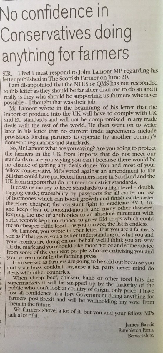 This is a devastating letter 👏 in @scottishfarmer from a local, #Berwickshire farmer, James Barrie, who takes down Tory MP #John2Lose Lamont for betraying  #farmers by voting against protecting food safety standards in advance of any trade deal with US. Well worth a read 👀👇 https://t.co/9QmU1kzl4e