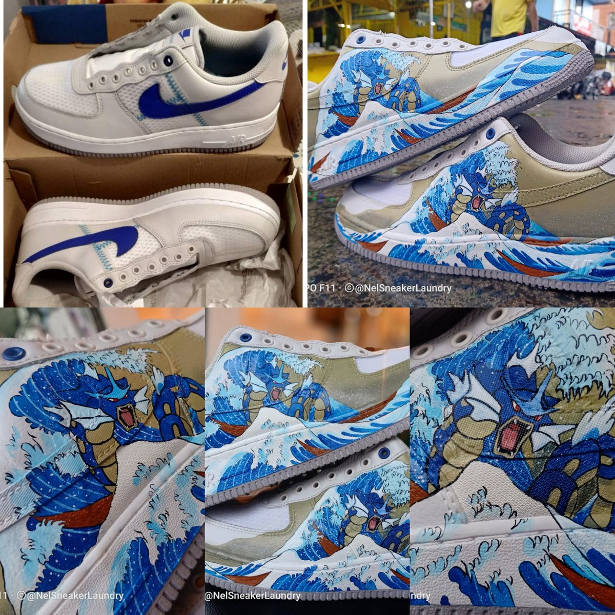 For Sharing Before and After Nike Airforce1 The Great Wave off Kanagawa, Gyarados Edition Customized.  Only at NEL Sneaker Laundry SHOP  #TheCobblersPh #Pintados #NelSneakerlaundrypic.twitter.com/WK7VGufQ1Y