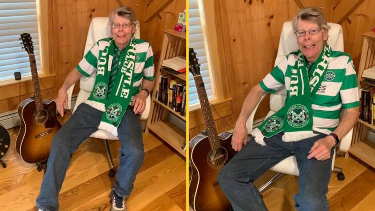 It's an unlikely tale of blossoming romance between the American master of horror writing and a Scottish Highland League club... 🤣  Read why author Stephen King is wearing Buckie Thistle's kit  👉 https://t.co/UiYNwOWtB3 https://t.co/DC3wHewaiQ