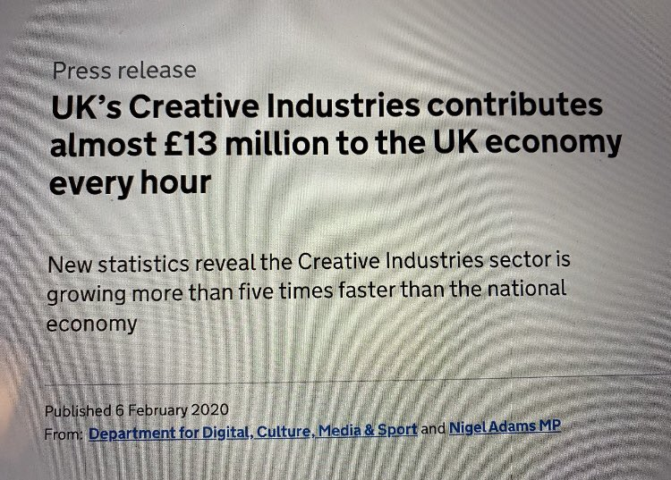 There seems to be a lot of moaning that creative types are an elite bunch and we shouldn't be using tax payers money to help us out. To those with that view I offer this: https://t.co/6pdG8RJ2X3