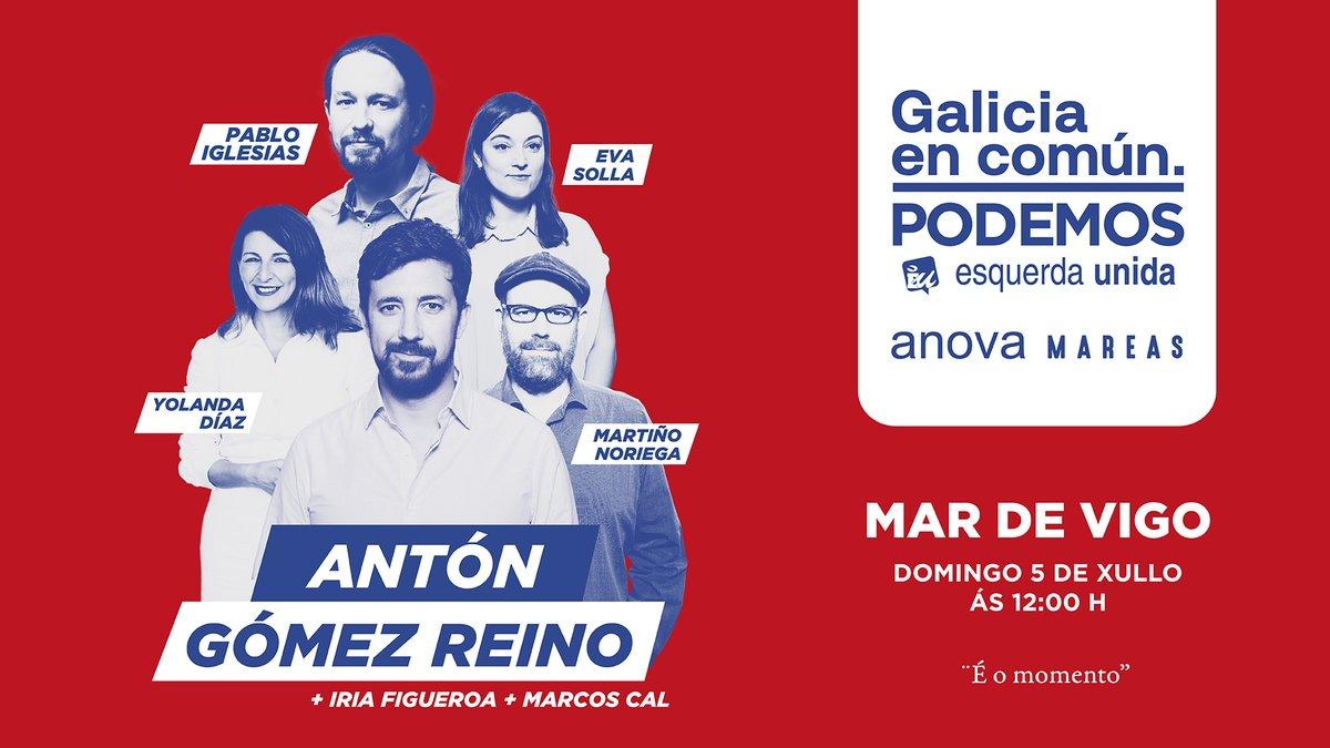 Mañana estaré en Vigo apoyando a @AntonGomezReino, candidato a presidir la Xunta de Galicia, en un acto en el que también participarán @Yolanda_Diaz_, @martinhonoriega y @eva_solla. Galicia necesita un cambio y Antón Gómez-Reino es la persona que puede lograrlo. #ÉoMomento