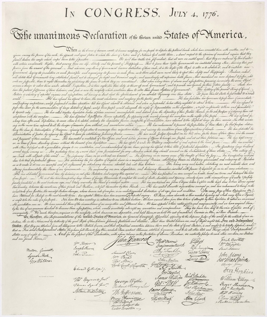 #OnThisDay in 1776, the Declaration of Independence was adopted by Congress:  http:// bit.ly/2Jl2uso     <br>http://pic.twitter.com/cYQy4qH2jM