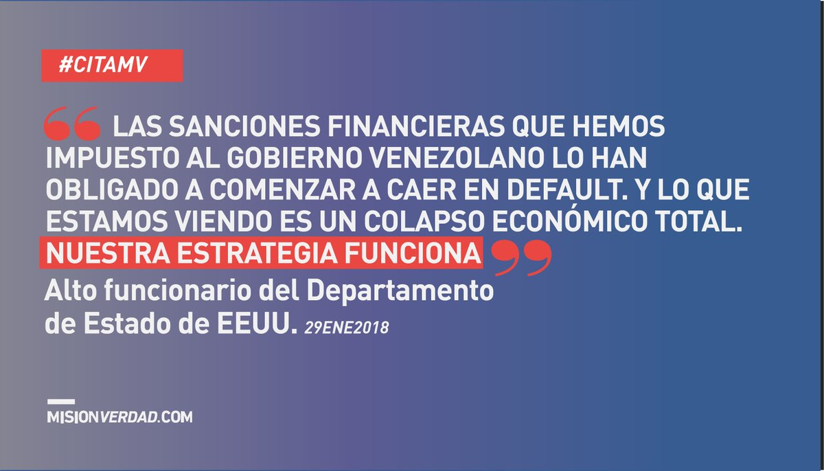 En enero de 2018, el Departamento de Estado celebraba que la estrategia de cerco financiero contra Venezuela estaba siendo efectiva https://t.co/QNTbE7eVy1 https://t.co/IuFwAGLCXK
