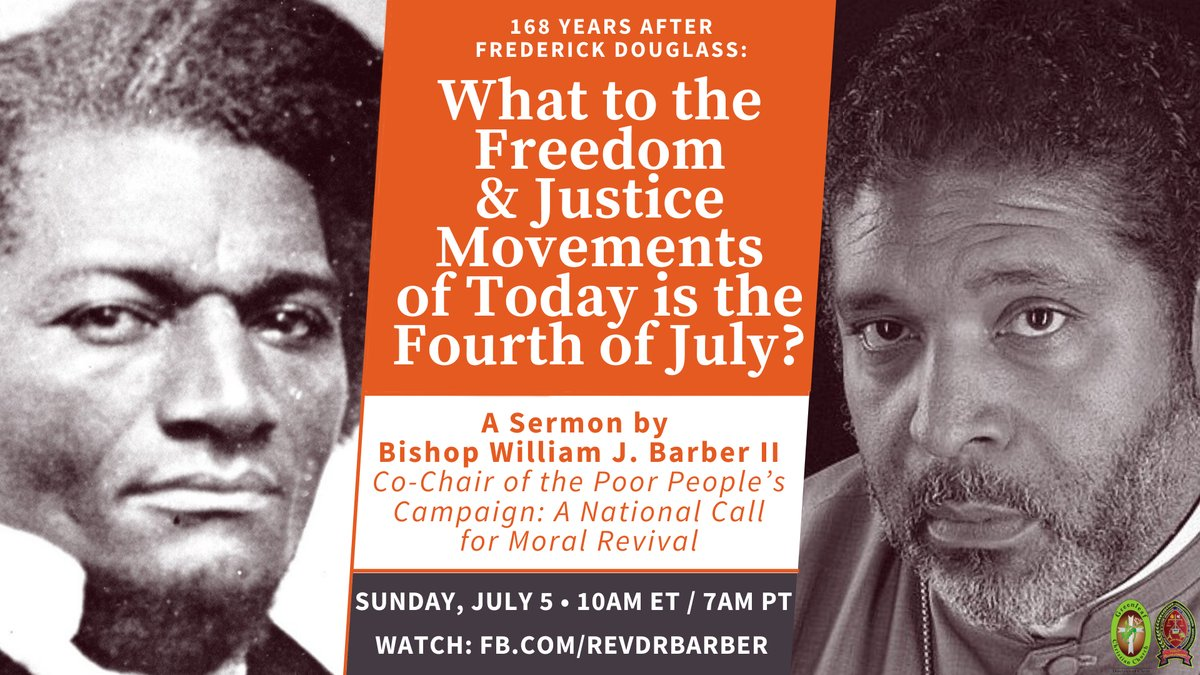 """Tomorrow, 168 years after Frederick Douglass's famous speech """"What to the Slave Is the Fourth of July?"""" I'll be preaching (online) from my home church pulpit, """"What to the Freedom & Justice Movements of Today Is the Fourth of July?"""" Join us: https://t.co/lMgTwuUfjZ https://t.co/EzBAibvrX4"""