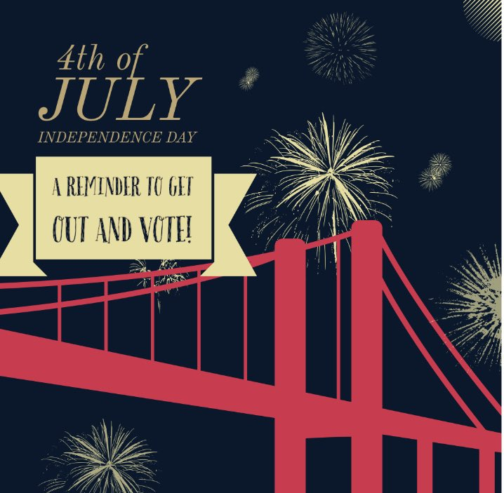 Wishing you and your family a wonderful Fourth of July! This is a perfect day to reflect on the importance of voting! Register at https://t.co/MX1IXVhyBr. https://t.co/EkmglhZbkx
