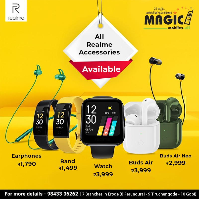 All realme accessories (Earphone, Watch, Band, Buds Air, Buds Air Neo) available with lowest price at our Magic mobiles. Get it Now...!!  99430 07790 | 91599 55555 7 Branches in Erode (8 Perundurai - 9 Tiruchengode - 10 Gobi) #realme #accessories #realmebuds #realmeband pic.twitter.com/NcXLqlMd5c