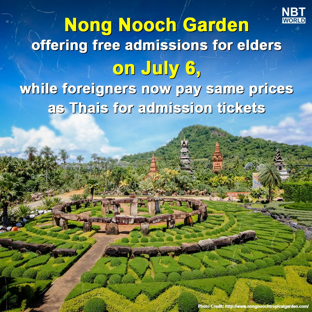 Nong Nooch Tropical Garden in Chonburi has launched its latest offer to promote tourism and help stimulate the economy, by giving free entries for the elders. Foreigners will now pay the same admission prize as Thai citizens.  #nongnooch #freeadmission #domestictourism #travelpic.twitter.com/js2yUkIXFy