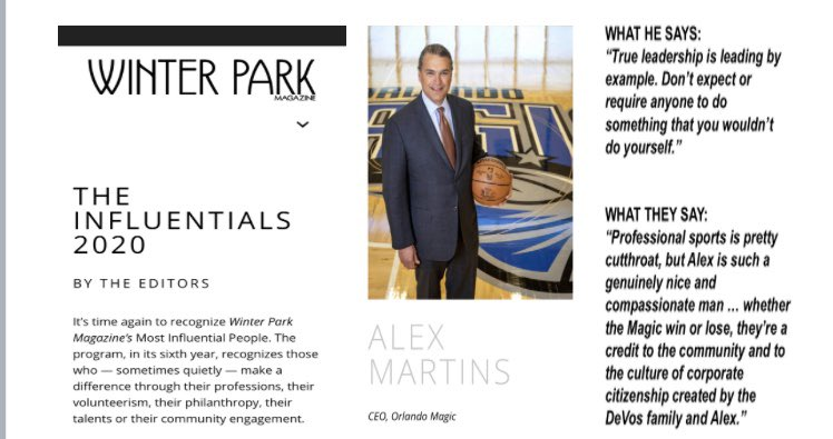 Congratulations to @OrlandoMagic CEO Alex Martins for being named to Winter Park Magazine's Influential 2020 List. List honors those who make a difference through their professions, their volunteerism, their philanthropy, their talents or their community engagement. https://t.co/bDn3Tsoe4m