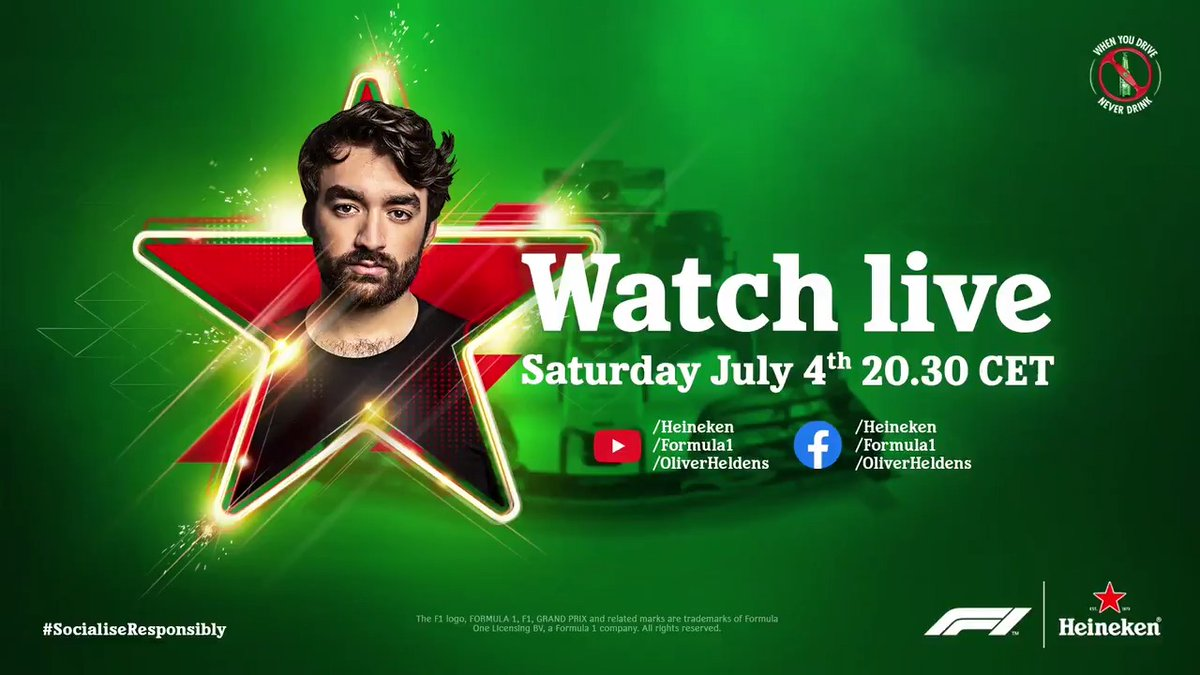 Tune in post qualifying as @Heineken and @OliverHeldens help get the #F1 party restarted! 🙌 https://t.co/keW6USxXVB