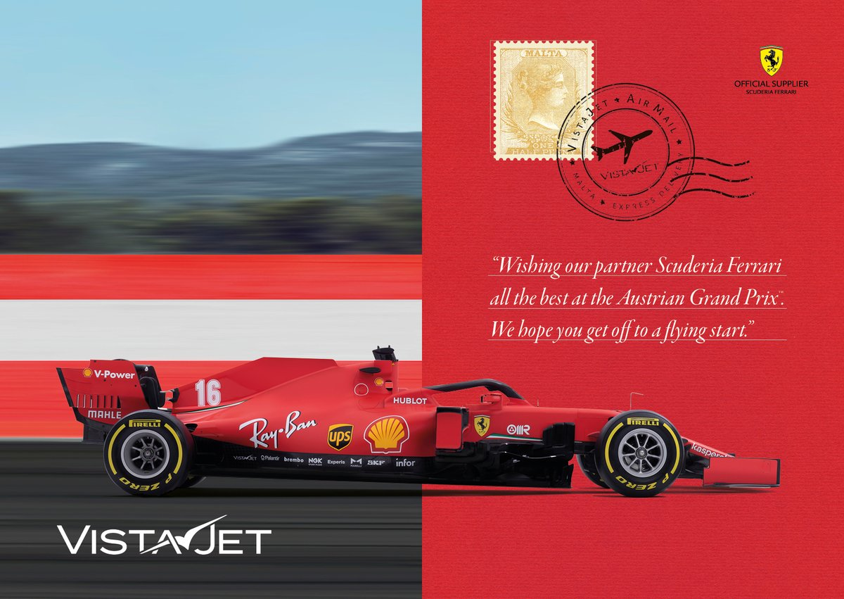 Good luck for the start of the season @scuderiaferrari. We wish we could be there in Austria with you.  #VistaJet#SF1000#essereFerrari #AustrianGP https://t.co/swQ3H2KZn9