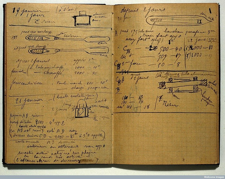 Marie Curie died of aplastic anaemia on 4 July 1934, a result of years of exposure to radiation through her work. Even today her laboratory notebook from 1899-1902, is radioactive and will be for 1,500 years. #NobelPrize