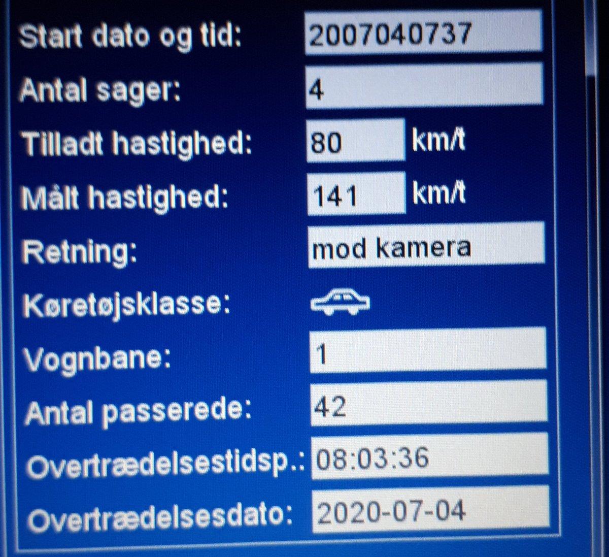 ATK hastighedskontrol på Lundvej nord for Varde ulykke strækning. 24 sager heraf 1 betinget frakendelse på 141 km/t. 1 klip på 109 km/t.  Husk den tilladte hastighed på landevej er 80 km. #atkdk #politidk https://t.co/ZjUWa4qZ5l