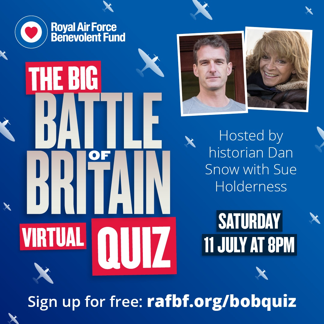 Theres just one week to go until our Big Battle of Britain Virtual Quiz – hosted by Dan Snow @thehistoryguy and actress @SueHolderness. Gather your friends and family for an evening of historical trivia and sign up for free here: fal.cn/38YtN #BigBattleofBritainQuiz
