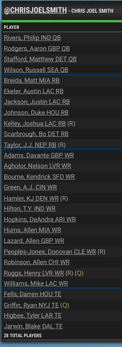 I could give Russ & Nuk & Mike Will for Devin Singletary & Moss + Melvin Gordon & P. Lindsay.  But #RBsDontMatter so I think I'll hold tight<br>http://pic.twitter.com/IZInkVUBl6