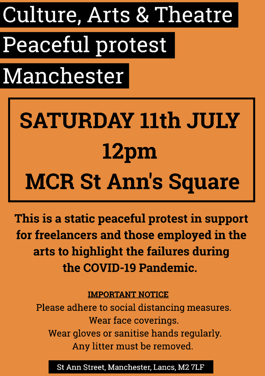 Manchester's peaceful protest, come and unite! #SaveTheArts #CreativePerformanceProtest https://t.co/9dMzfBdIfW https://t.co/cR60EI7Akj
