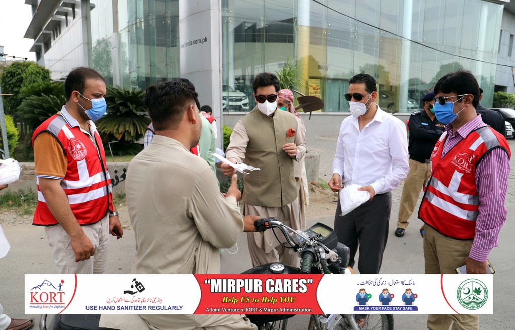 """KORT in collaboration with Mirpur administration has started a massive awareness campaign """"MIRPUR CARES"""" to educate citizens about symptoms safety, preventions and compulsory Do's and Don't's while at homes and in bazars in order to protect themselves from COVID.#mirpurcares"""
