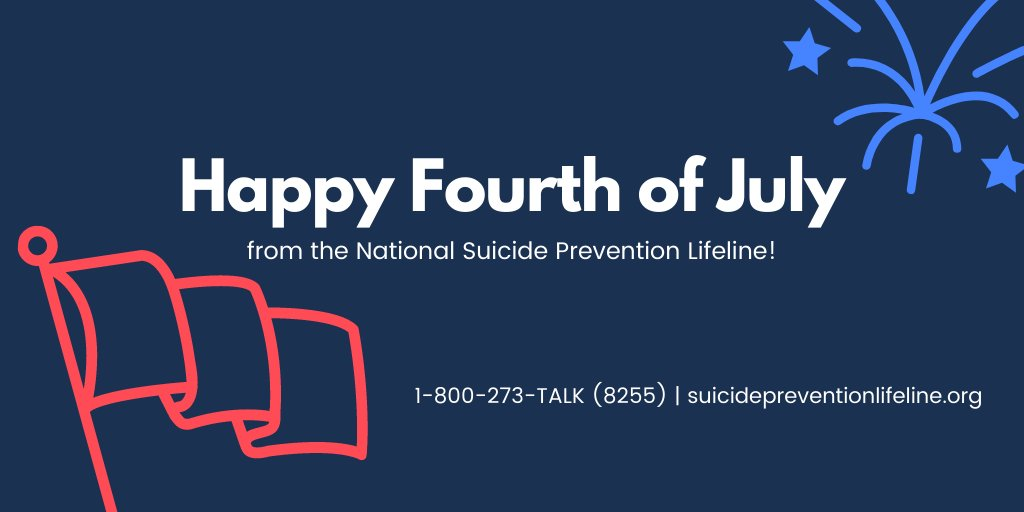 Wishing everyone a safe and happy #4thofJuly! If today is difficult for you, know that the Lifeline is here for you, 24/7. Call 1-800-273-TALK (8255) to be connected with a trained, caring counselor.