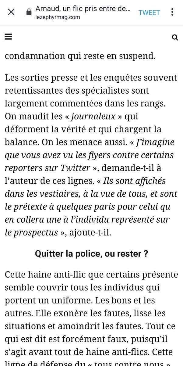 Effrayant extrait d'un article de @zephyrmag.  Des «paris» sur la gueule des «journaleux» désignés comme anti-#police.   On comprend mieux l'acharnement de certains syndicats de flics sur les journalistes indés : culture de la violence et de l'intimidation. #libertedelapresse https://t.co/nwAkZzNWak