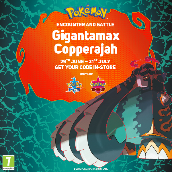 Pick up your FREE Gigantamax Copperajah code in-store for #Pokémon Sword & Shield. While stocks last. ⚔️🛡️ https://t.co/1ZXgSGRtEm
