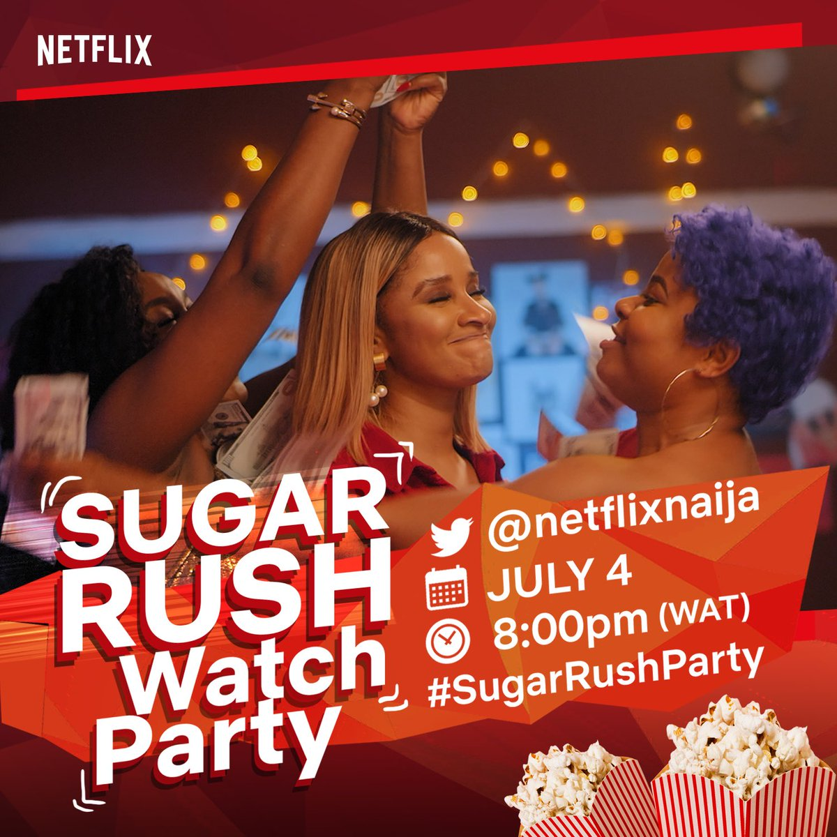 Sugar Rush fans, get in here! We're hosting a Twitter watch party tonight at 8pm WAT for your fav movie 💃🏾🎉🥳 Join us for the fun and laughs! Tweet along using #SugarRushParty Tell everyone cos it's going to be lit! 🔥
