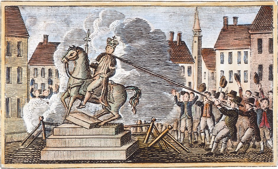 1776: After a reading of the Declaration of Independence, New Yorkers descended on Bowling Green and pulled down a statue of King George III.  Imagine those thugs destroying history. Now we'll never know who won the Revolutionary War.  #July4th  #independenceday2020 https://t.co/LrOtFt0wHe