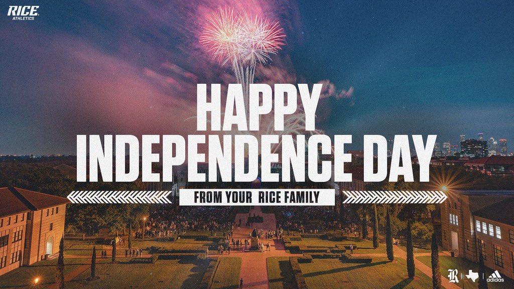 RT @RiceAthletics: Happy #FourthofJuly, Rice Family! https://t.co/t7HDuveUG3
