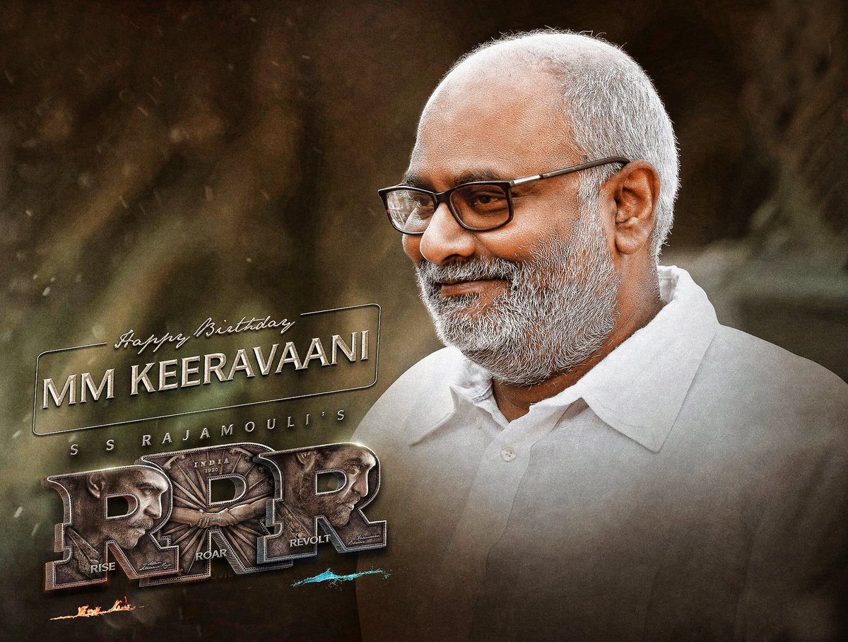 Happy birthday music maestro @mmkeeravaani, the genius who creates magic with his music!   Unmatched magic and melody will unveil soon in @ssrajamouli's #RRR!!! 🔥🔥🔥🔥🔥🔥🔥  Retweet if you are a fan of his work. #RRRMovie #MMKreem #Baahubali2 https://t.co/2VSRYnHqGY