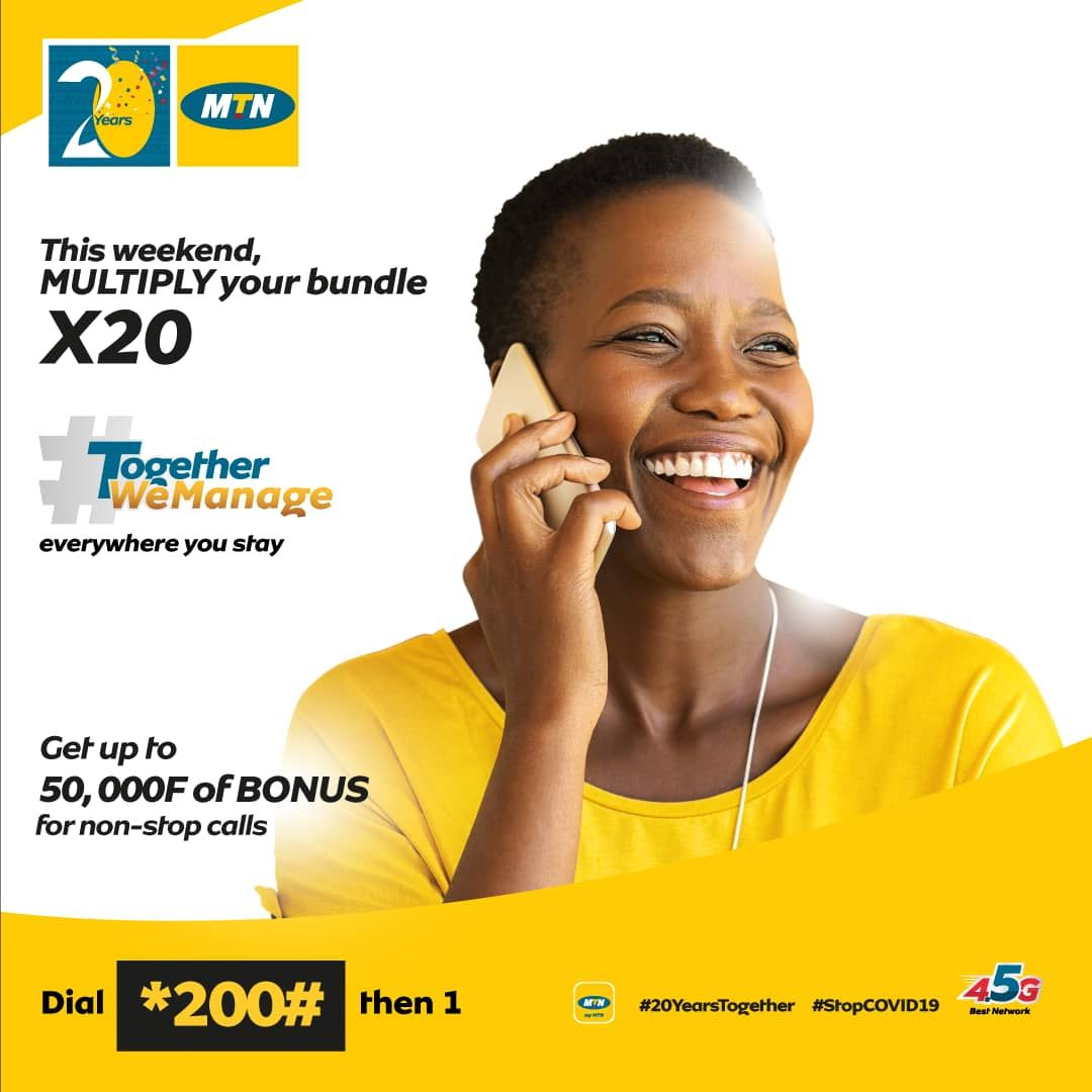 Y'ello! This weekend, your ear is going to burn out from the amount of calls you're going to make.  Subscribe to a bundle and receive up to 50.000F as a bonus for your calls.  Dial *200# then 1 #TogetherWeManage #20YearsTogether https://t.co/6ClAsNUIks