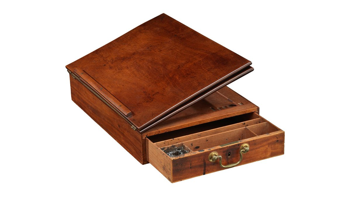 """In 1776, Thomas Jefferson wrote the Declaration of Independence on this portable desk, now in  @amhistorymuseum.  While his words outlined the ideals of a new nation—""""life, liberty, and the pursuit of happiness""""—he enslaved more than 600 people in his lifetime. https://t.co/blS1LOMqby"""
