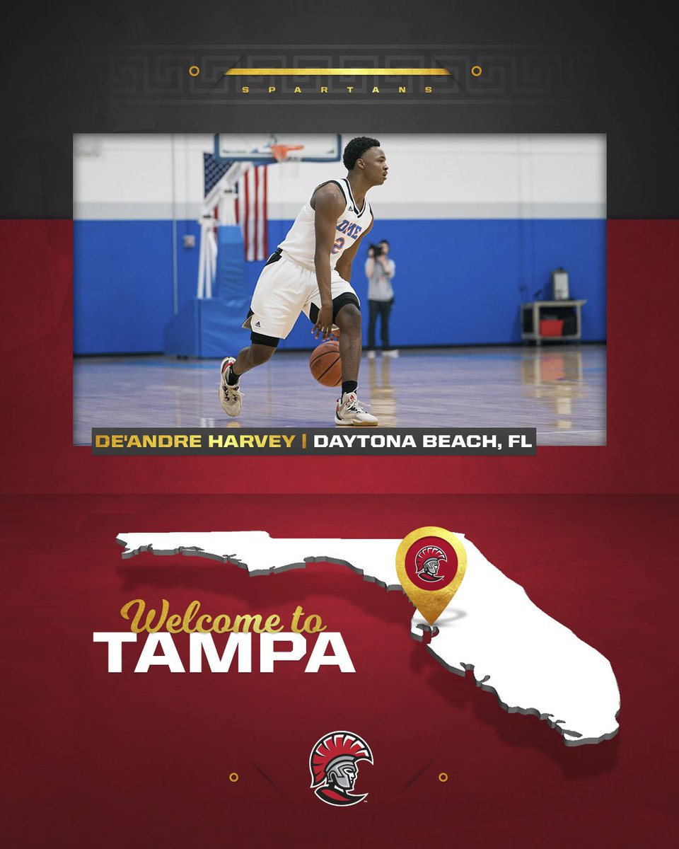 Excited to welcome De'Andre Harvey to the @tampaspartans family! 🛡 🏀 🌴 https://t.co/VMCTdHpVhO