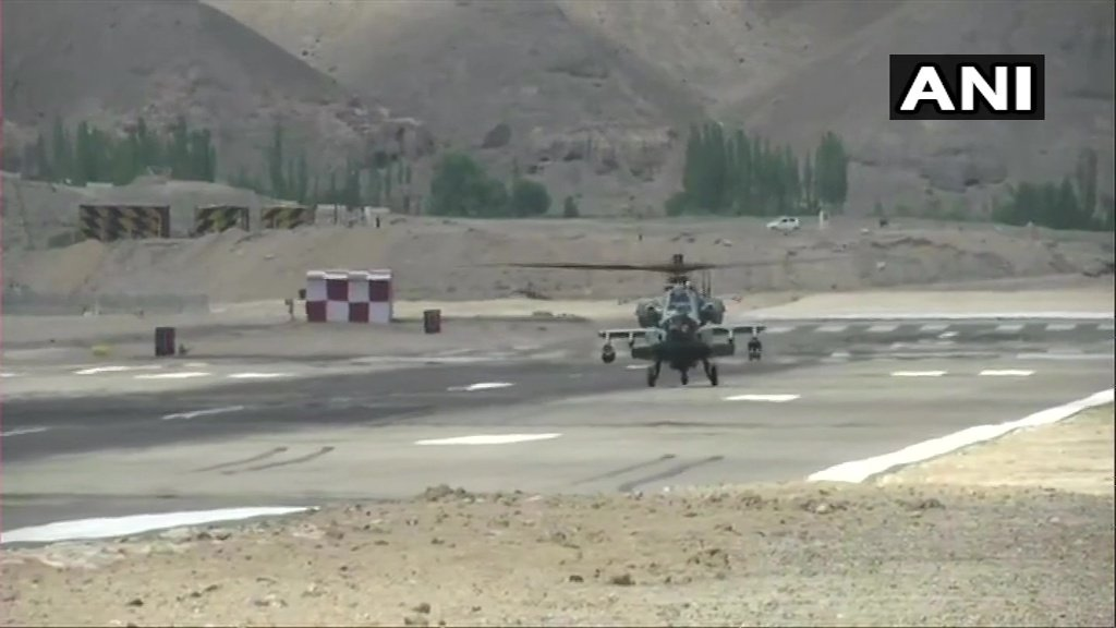 Indian Air Force (IAF) Apache attack helicopter at a forward airbase near India-China border carrying out air operations.