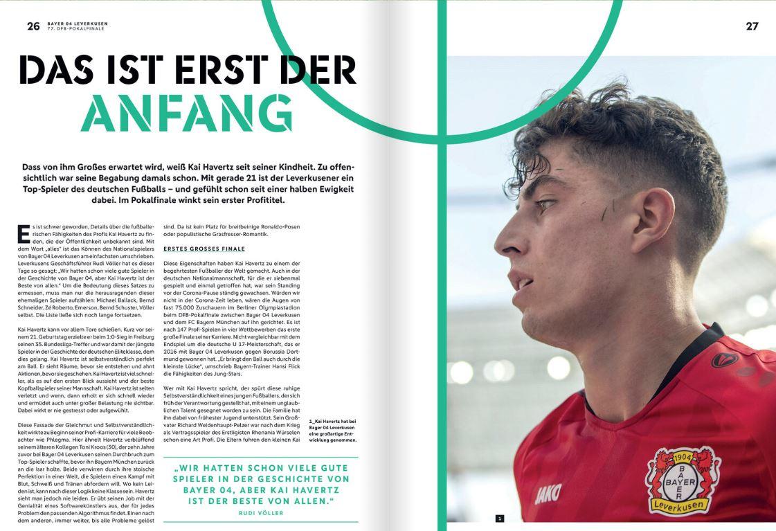 """Rudi #Völler: """"Wir hatten schon viele gute Spieler in der Geschichte von @bayer04fussball, aber Kai #Havertz ist der Beste von allen.""""   Den kompletten Text über @kaihavertz29gibt es im kostenlosen ePaper zum @DFB_Pokal-Finale. 📰 ➡️ https://t.co/oYG5SUrWC0  #DFBPokal #B04FCB https://t.co/pIipTtWUFZ"""