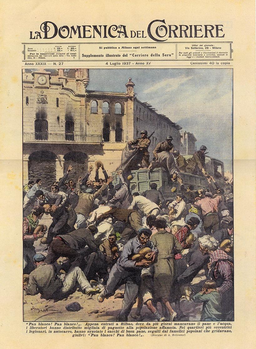 """1937ko uztailaren 4an """"Corriere della Sera""""ren gehigarriak #Mungia-ko irudi hau atera zuen azalean. Gezi Beltz italiarrek ere gure herrian eragindako suntsipen eta sarraskia """"gorri""""ei egotzi eta salbatzaile gisa irudikatu zituzten. Horrela eraikitzen dira errelato faltsuak. https://t.co/GaxfGYNzsQ"""