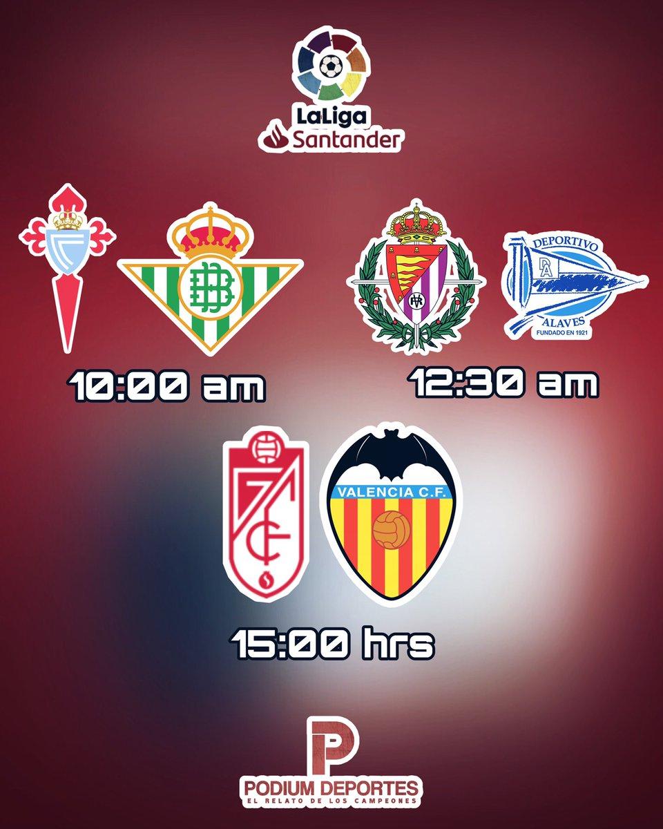#AgendaPodium    Continua la actividad en la #LigaSantander este sábado con tres encuentros   10 hrs   #Celta #RealBetis   12:30 hrs   #Valladolid #Alaves  15 hrs   #GranadaCF #ValenciaCF   #Jornada34 #LaLiga pic.twitter.com/i6HbLiaJxz