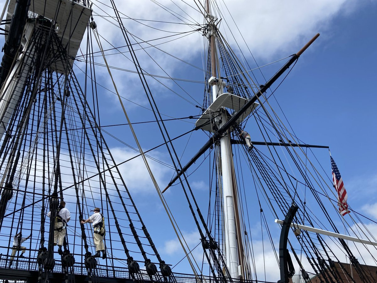 Although @USSConstitution won't be sailing through Boston Harbor this year, we're lucky enough to get to see a climbing demonstration.   The crew has to climb three stories above sea level to release the sails. pic.twitter.com/AzliygqsFn