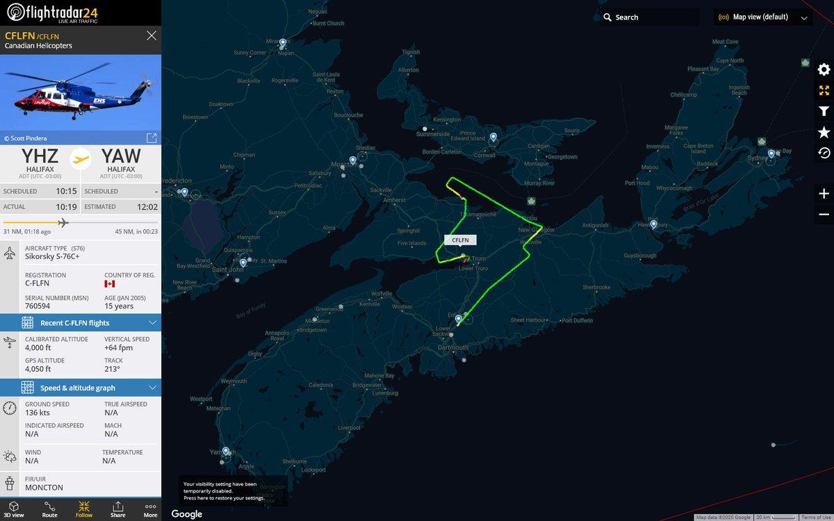 MISSED APPROACH ALERT : At Sat Jul  4 15:37:14 2020 #CFLFN was landing but now climbing - possible missed approach 1nm from CCQ3 Debert Airport #AvGeek #ADSB https://www.flightradar24.com/CFLFN/24d9d78fpic.twitter.com/VkDuqsn2po