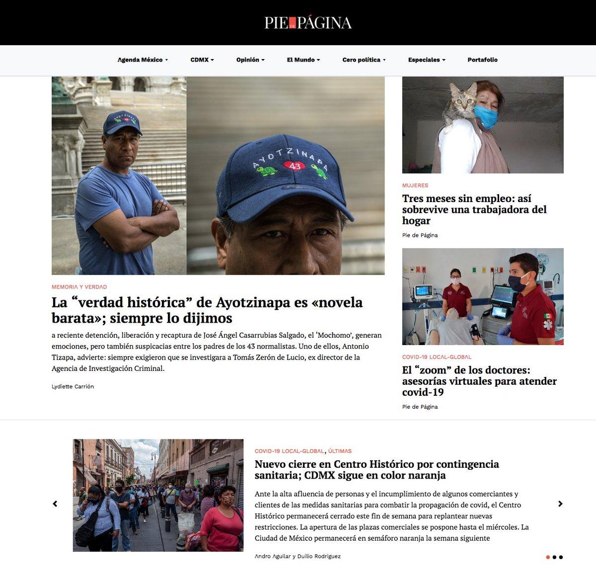 """·La""""verdad histórica"""" de #Ayotzinapa es «novela barata»; lo dijimos https://t.co/nrXXlJaOlw ·Tres meses sin empleo: así sobrevive una trabajadora del hogar https://t.co/oKm5sPDwlC ·El """"zoom"""" de los doctores #covid19 https://t.co/LxOS6phhog  ❇️#LaPortada https://t.co/zGnsss8gvv ⬇️ https://t.co/e4JViO2MUn"""