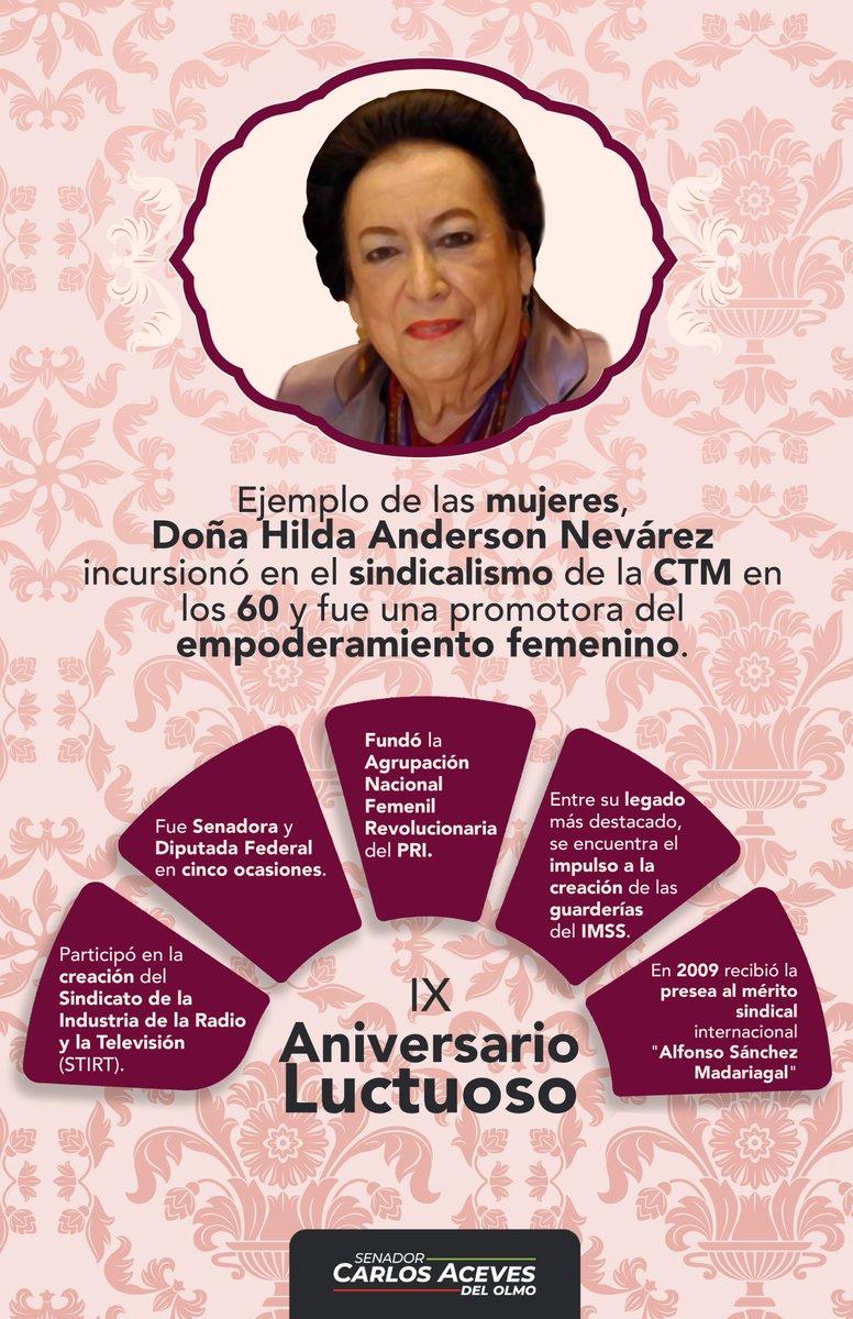 Doña Hilda Anderson Nevárez dejó un gran legado de enseñanzas para las y los cetemistas del país. Con su lucha en favor de las mujeres y, en especial, de las madres trabajadores, se convirtió en un icono del sindicalismo femenil.  Hoy la recordamos en su IX Aniversario Luctuoso. https://t.co/iIOxV1dqeE
