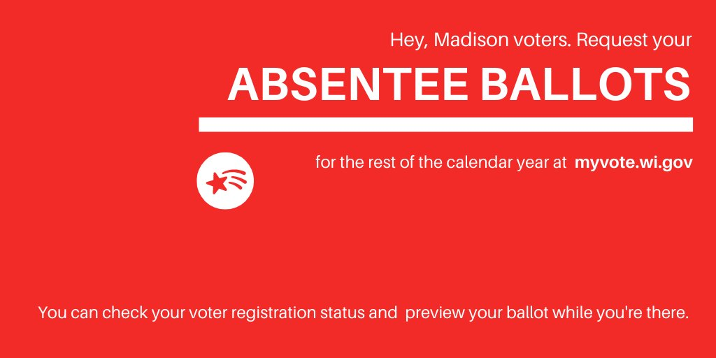 There is still time to request your absentee ballot for the Aug 11 Partisan Primary. While youre requesting that one, go ahead & request absentee ballots for the rest of 2020:) Visit MyVote.wi.gov to request yours today! #MadisonVotes2020 #MadisonWI @CityofMadison