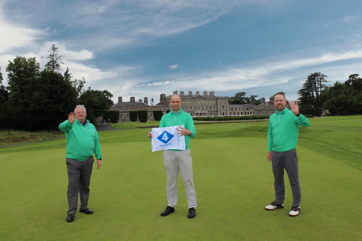 A vision in green and blue, and a '4-taste' of things to come ... Very proud and excited to see our Global Golf4 Cancer flag against the spectacular backdrop of @CartonHouse -- a 4th of July prelude to our launching an 'Ireland's Ancient East' 4-Flag campaign later this summer⛳️ https://t.co/pDVXdA4QGD