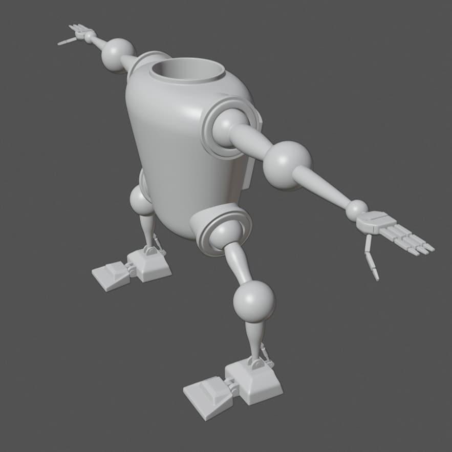 My new little project. #blender #animation #3dmodel #3dmodeling #blender3d #blender2.8 #robot #characterpic.twitter.com/1hE2pbKZKj