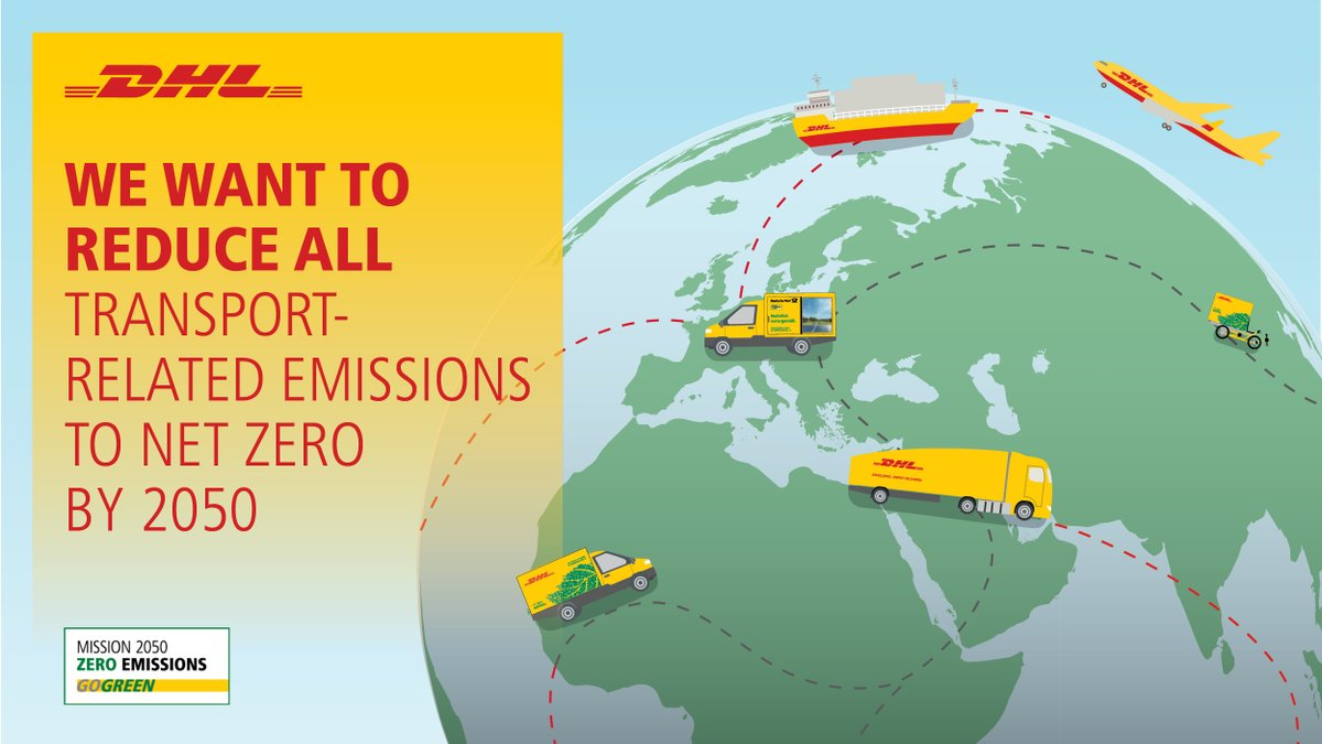 Let's be the stewards of #sustainability and help protect our planet. At #DHL, our plan is to limit global warming by aiming to reduce all logistics-related emissions to zero by the year 2050. #GoGreen #ZeroEmissions2050 https://t.co/1hyfivAGo6