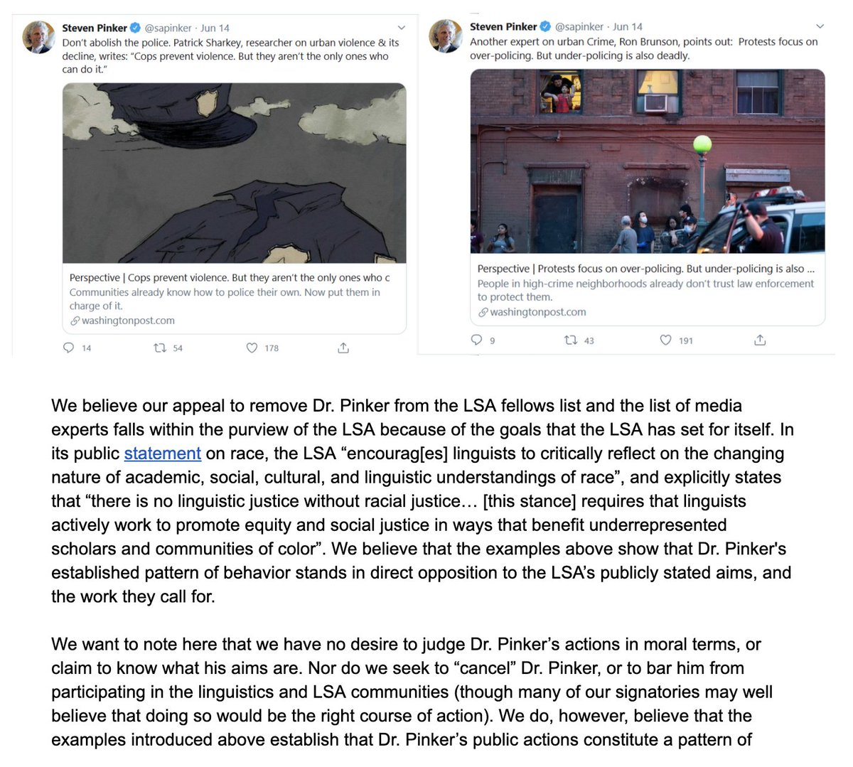 Pure lunacy: Liberals continue devouring their own, purging fellow liberals like @sapinker who do not perfectly align with woke standards (established last Tuesday), scraping social media for any violations. Time to cancel the LSA.  https://t.co/jGVhAV6iqZ https://t.co/SwcC1Vx1fb