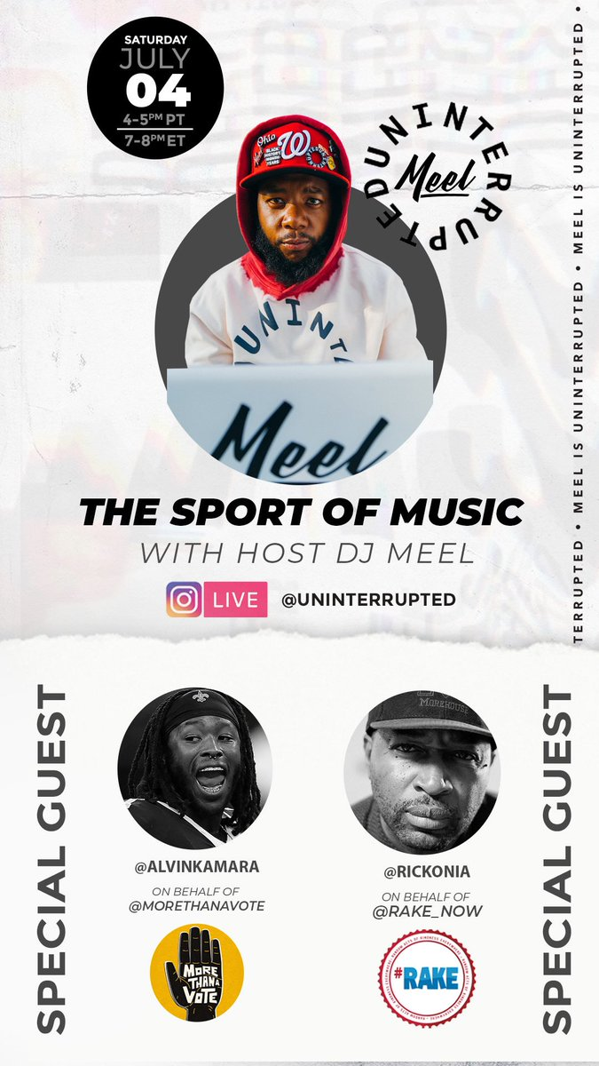 The Sport of Music TODAY on @uninterrupted IG live 4-5pm PT/ 7-8pm ET w/ @A_kamara6 for @morethanavote and @Rickonia for @RAKENow !!!! Tap in!!!!! https://t.co/VCj9rhIV4v