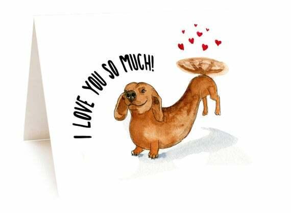 Daschund Sausage Dog Card I Love You